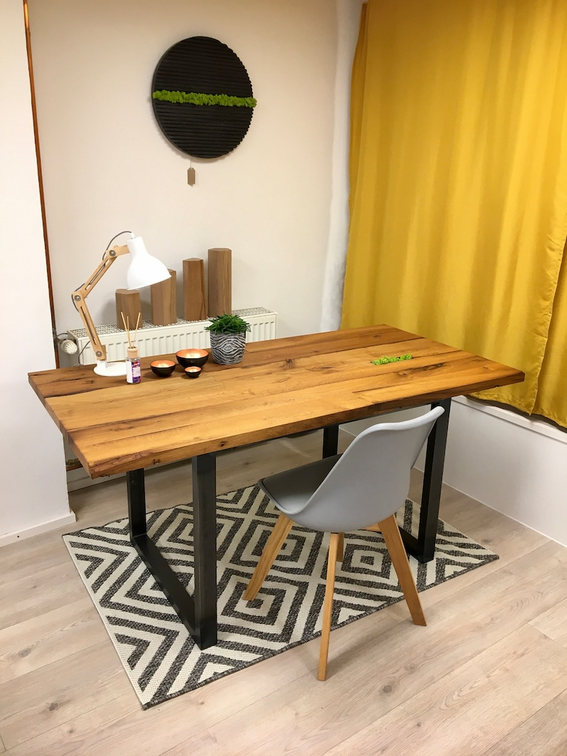 Desk dining table office table in reclaimed wood oak with image 0
