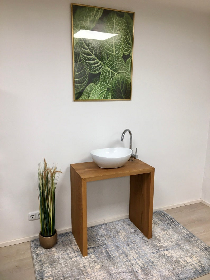 Washbasin wood made of solid armourulme rustic noble with sink image 0