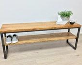 Bench, bench,storage room,storage,oak solid,steel frame from 399.- customizable, Handwerskskunst from Remagen/Rhine