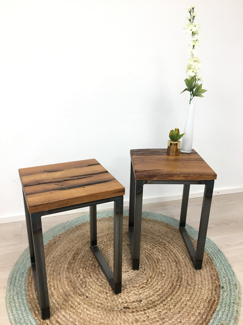 stool side table table bedside table made of reclaimed oak image 0