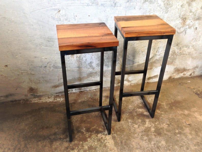 Bar stoolvintagewoodstool in oak reclaimed wood steelart image 0