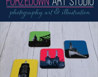 Famous London Landmarks Coasters Set of 4 - Borough Market, St Paul's Cathedral, Battersea Power Station & OXO Tower. Mother's Day gift.