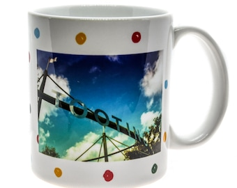 Tooting Sign Spotty Mug, Breakfast mug, tea & coffee mugs, tableware, kitchenware, homeware, South London. Ideal Mother's Day gift.