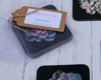 Succulents, Plant Coaster Set of 4 in an organza bag - an ideal gift for friends, family or yourself.