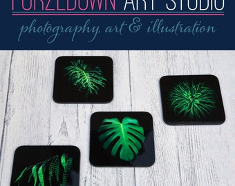 Leaves Coaster Set of 4 in an organza bag - an ideal gift for friends, family or yourself.