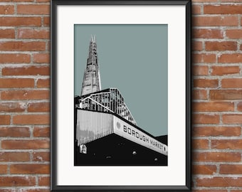 Borough Market, London, Litho Style Print, Mounted A4 Print, London Art Print, London Wall Art, Southwark , SE1