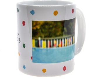 Tooting 'Love Lido Life' Spotty Mug, Breakfast mug, tea & coffee mugs, tableware, kitchenware, homeware, South London Lido, Tooting Bec Lido