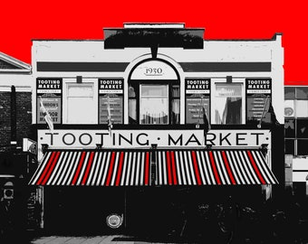 Tooting Market Print, South London Print, A4 Photographic Print, London Art, South London Art, Red or Orange or Teal