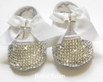Christening baby shoes  Cross baby shoes rhinestone shoes  baptism baby  shoes   clear crystal shoes silver baby shoes dee32eeadb