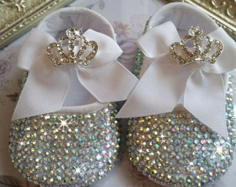 25bd41356eec Handmade Swarovski crystal shoes  bling shoes  sparkling rhinestonebaby  shoes embellished baby shoes christening shoes  ballerina shoes