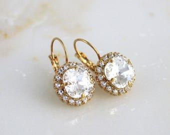 Gold Bridal earrings, Wedding earrings, Wedding jewelry, Clear crystal earrings, Bridesmaid earrings Crystal drop earrings Swarovski crystal