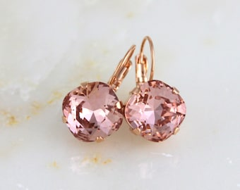 Rose Gold Bridal earrings, Crystal Wedding earrings, Bridal jewelry, Blush crystal earrings, Blush wedding, Cushion cut, Swarovski earrings