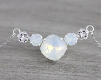 Crystal Bridal necklace, White opal necklace, Wedding jewelry, Swarovski crystal necklace, Pendant necklace, Silver necklace, Bridal jewelry