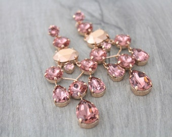 Rose Gold Earrings, Blush Bridal earrings, Wedding jewelry, Blush crystal earrings, Chandelier earrings, Statement earrings, Swarovski