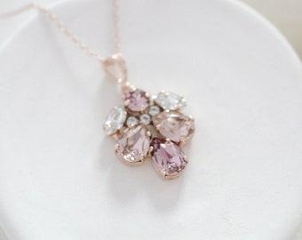 Rose gold Bridal necklace Bridal jewelry Swarovski crystal Bridesmaid necklace Blush crystal necklace Rhinestone Wedding necklace