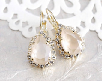 Ivory cream earrings, Crystal Bridal earrings, Bridal jewelry, Ivory earrings, Swarovski earrings, Teardrop earrings, Wedding earrings