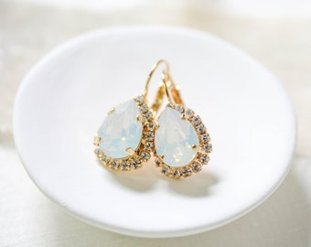White opal Bridal earrings Swarovski teardrop Crystal Wedding earrings Bridal jewelry Simple Bridesmaid earrings Opal Wedding jewelry