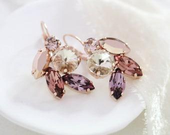 Rose gold Bridal earrings, Burgundy crystal earrings, Bridal jewelry, Cluster leaf earrings, Swarovski crystal earrings, Wedding earrings
