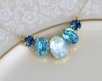 Turquoise blue necklace, Gold Wedding necklace, Swarovski crystal necklace, Bridesmaid necklace, Bridal jewelry, Oval necklace, Aqua crystal