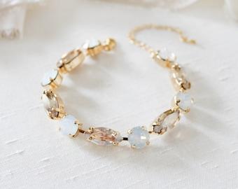 White opal Bridal bracelet Bridal jewelry Swarovski Crystal Wedding bracelet Bridesmaid Gold bracelet Tennis bracelet Wedding jewelry