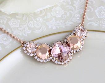 Rose gold necklace, Bridal necklace, Blush crystal necklace, Bridal jewelry, Wedding necklace, Bridesmaid necklace, Statement necklace