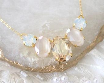 Gold Bridal necklace Opal necklace Bridal jewelry Crystal Wedding necklace Swarovski crystal Oval stone necklace Wedding jewelry