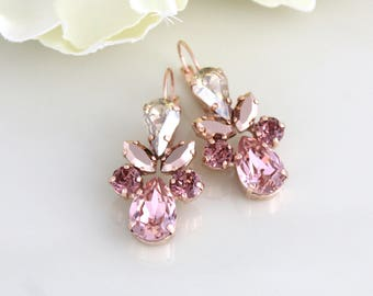 Rose gold earrings, Bridal earrings, Bridal jewelry, Blush crystal earrings, Swarovski earrings, Blush earrings, Chandelier earrings