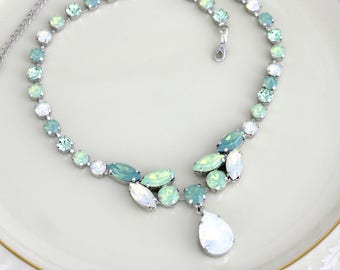 Mint green necklace, Crystal Bridal necklace, Bridal jewelry, White opal necklace, Wedding jewelry, Pacific Opal, Mint opal, Swarovski