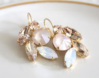 Crystal Bridal earrings, Opal earrings, Bridal jewelry, Swarovski crystal earrings, White opal, Ivory cream, Gold Wedding earrings, Dangle