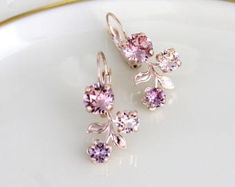 Rose gold earrings, Bridal earrings, Bridal jewelry, Blush crystal earrings, Flower earrings, Blush Wedding earrings, Swarovski earrings