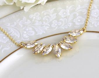 Gold necklace, Bridal necklace, Bridal jewelry, Swarovski crystal necklace, Wedding necklace, Champagne crystal necklace, Wedding jewelry