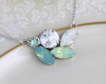 Crystal Bridal necklace, Mint green necklace, Bridal jewelry, Bridesmaid necklace, Sea foam green, Swarovski crystal necklace, Vintage style