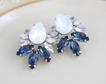 Blue Navy white Opal Kronleuchter Ohrring, Swarovski