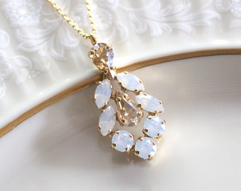 Bridal necklace, White opal, Bridesmaid necklace, Bridal jewelry, Swarovski crystal, Gold necklace, Champagne necklace, Pendant necklace