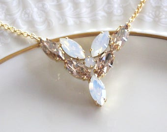 Crystal Bridal necklace, White opal necklace, Bridal jewelry, Wedding necklace, Swarovski necklace, Golden shadow, Gold necklace, Bridesmaid