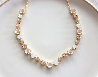 Gold necklace, Bridal necklace, Bridal jewelry, Swarovski necklace, Wedding necklace, Champagne crystal necklace, Bridesmaid necklace, Opal