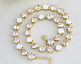 Bridal necklace, Ivory cream necklace, Bridal jewelry, Choker necklace, Gold necklace, Swarovski necklace, White opal necklace, Champagne
