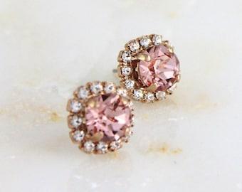 Rose gold stud earrings, Bridal earrings, Wedding jewelry, Blush crystal earrings, Blush pink earrings, Bridesmaid earrings, Bridesmaids