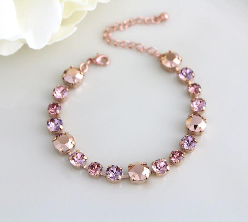 Rose gold Bridal bracelet Swarovski blush crystal Wedding image 0