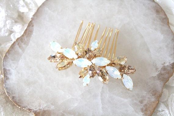 Opal Braut Haarkamm Hochzeit Haarschmuck Goldene Hochzeit Kamm Crystal Cluster Weiß Opal Goldenen Schatten Swarovski Kristall Haarteil