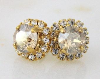 Gold stud earrings, Bridal earrings, Crystal stud earrings, Wedding jewelry, Bridesmaid earrings, Swarovski stud earrings, Champagne Crystal