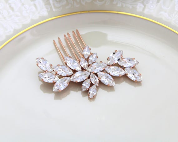 Rose Gold Hair Comb Wedding Hair Accessories Swarovski Crystal Etsy