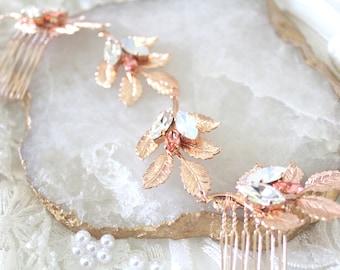 Rose gold Bridal hair comb Rose Gold Swarovski Crystal headpiece Wedding hair accessories Leaf hair vine Bridal hair piece Wedding headband