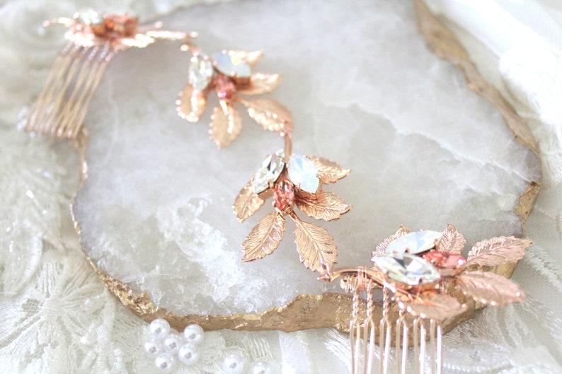 Rose gold Bridal hair comb Rose Gold Swarovski Crystal image 1