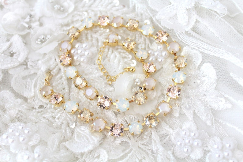 Swarovski Crystal Bridal necklace Ivory cream crystal necklace image 0
