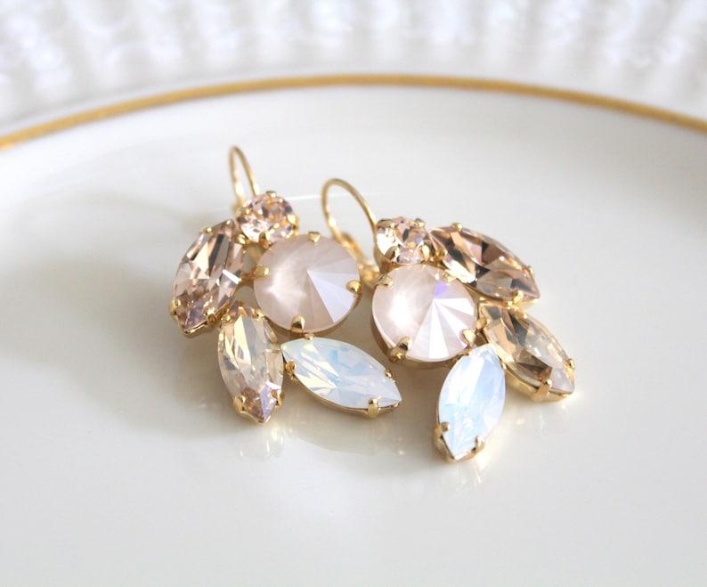 Crystal Bridal earrings Opal earrings Bridal jewelry Swarovski image 0