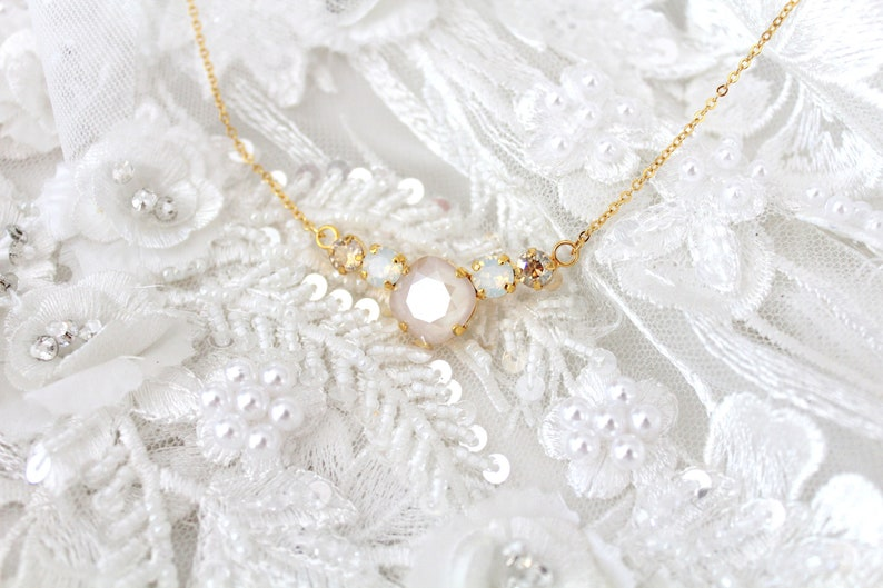 Opal Bridal necklace Bridal jewelry Swarovski White opal and image 0