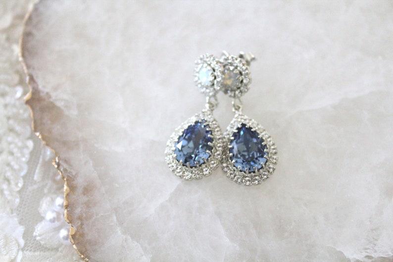92129a891b502c Crystal drop Bridal earrings Navy Blue and Opal earrings   Etsy