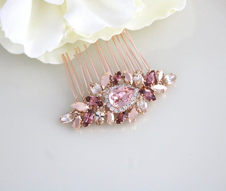 Rose gold Bridal hair comb Wedding hair accessories Rose gold image 0