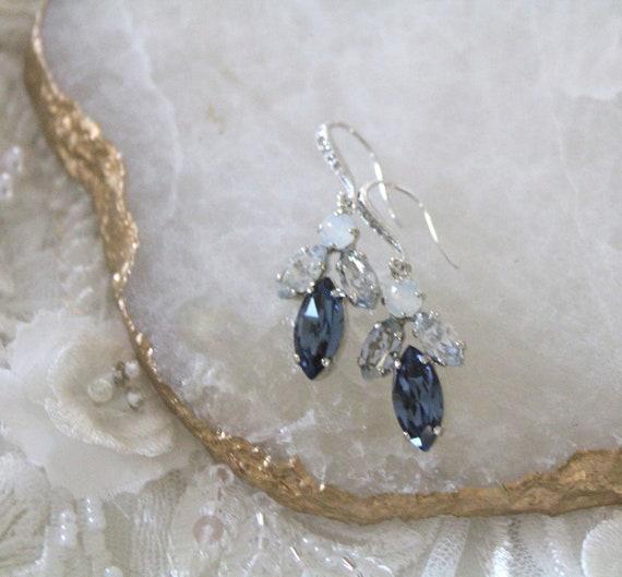 55852a839077a Blue crystal Bridal earrings Bridal jewelry Swarovski Wedding earrings  Crystal drop earrings Navy blue White opal Blue Shade earrings